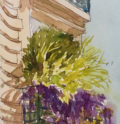 an ink and watercolour illustration of a Parisian balcony