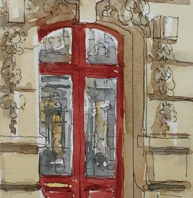 A watercolor of a Parisian door