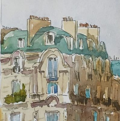 Ink and watercolor illustrations of buildings in paris