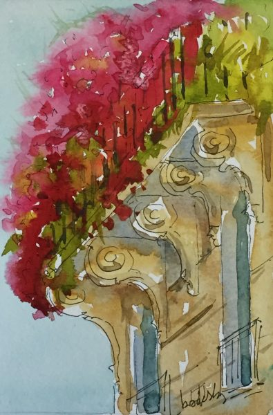 Des illustrations des balcons de Paris en encre et aquarelle